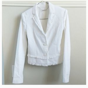 Elie Tahari stretch linen crop blazer with trim